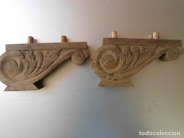 Antigüedades: Pareja de antiguas Patas de madera para cama o mueble - Foto 2 - 212795718