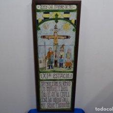 """Antigüedades: ANTIGUOS AZULEJOS ENMARCADOS """"AÑO DEL SEÑOR 1701"""".XI ESTACIO Y TEXTO EN CATALÁN.. Lote 212804220"""