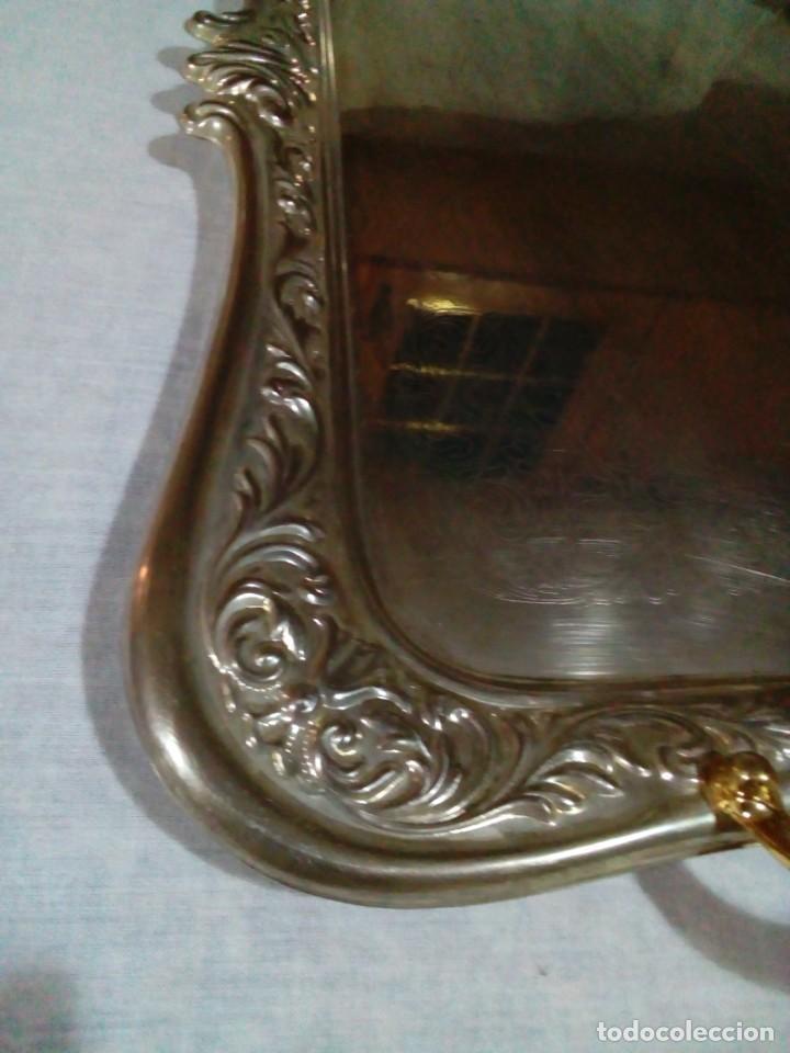 Antigüedades: bonita antigua bandeja de metal plateado - Foto 3 - 230381465