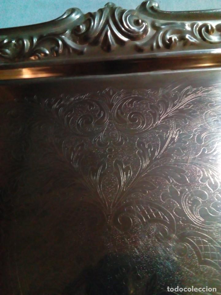 Antigüedades: bonita antigua bandeja de metal plateado - Foto 6 - 230381465