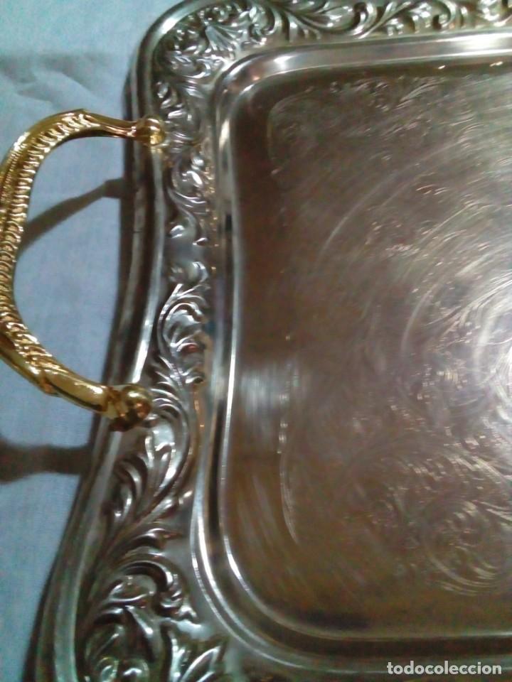 Antigüedades: bonita antigua bandeja de metal plateado - Foto 8 - 230381465