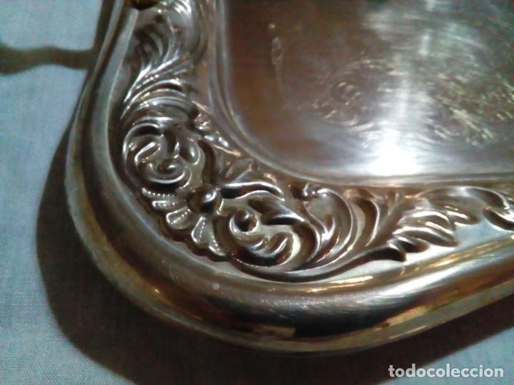 Antigüedades: bonita antigua bandeja de metal plateado - Foto 10 - 230381465
