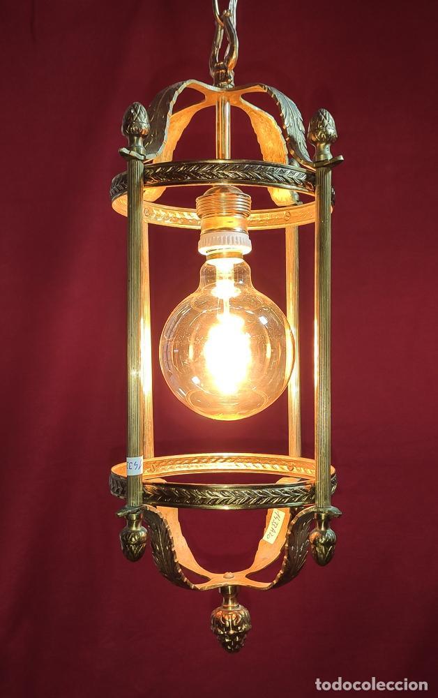 EXCELENTE LAMPARA, FAROL DE BRONCE, LUZ,, REGALO BOMBILLA LED VINTAGE (Antigüedades - Iluminación - Faroles Antiguos)