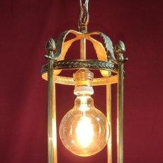 Antigüedades: EXCELENTE LAMPARA, FAROL DE BRONCE, LUZ,, REGALO BOMBILLA LED VINTAGE. Lote 212083832