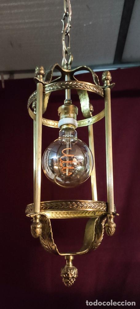 Antigüedades: EXCELENTE LAMPARA, FAROL DE BRONCE, LUZ,, REGALO BOMBILLA LED VINTAGE - Foto 3 - 212083832