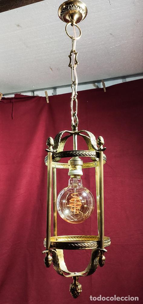 Antigüedades: EXCELENTE LAMPARA, FAROL DE BRONCE, LUZ,, REGALO BOMBILLA LED VINTAGE - Foto 5 - 212083832