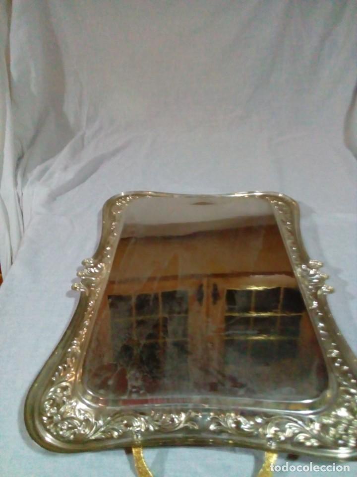 Antigüedades: bonita antigua bandeja de metal plateado - Foto 14 - 230381465