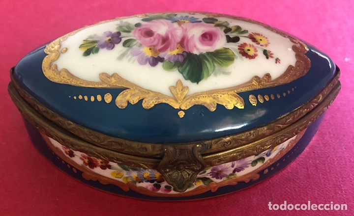 Antigüedades: Antigua caja de porcelana Francesa, de colección. - Foto 2 - 212900052