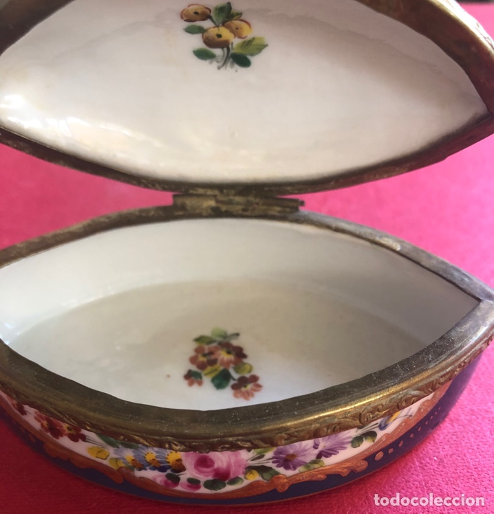 Antigüedades: Antigua caja de porcelana Francesa, de colección. - Foto 8 - 212900052
