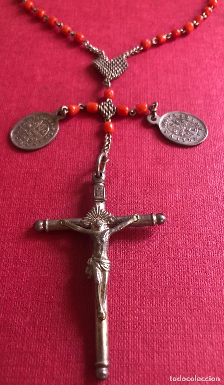 Antigüedades: Maravilloso Rosario de viaje, en plata de ley, y coral. - Foto 4 - 212903540