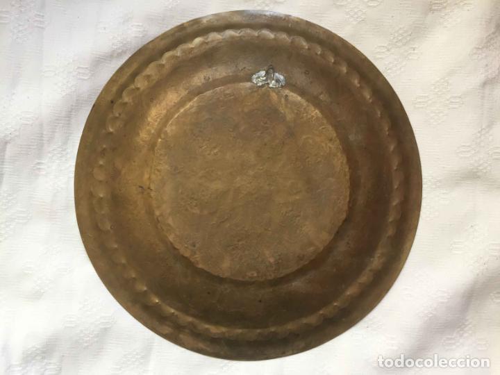 Antigüedades: PLATO BANDEJA (ÁRABE, Marruecos, 1950's) Latón. Decoración. Artesanal. Original ¡Coleccionista! - Foto 5 - 212948073