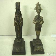Antigüedades: PAREJA DE FARAONES EN BRONCE-22 CMS PEANA -AÑOS 50 60 - EGIPTO EGIPCIOS FARAON FARAONA. Lote 212959262
