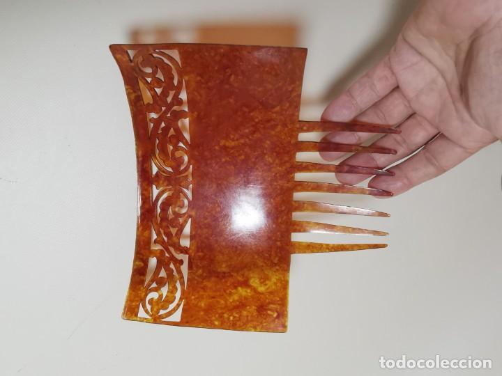 Antigüedades: PEINETA GRAN TAMAÑO CELULOIDE JASPEADO AÑOS 20-30 ART DECO - Foto 6 - 212988157