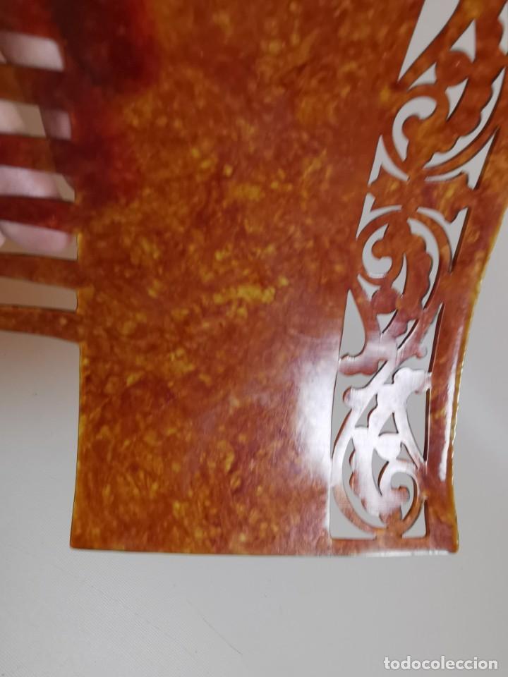 Antigüedades: PEINETA GRAN TAMAÑO CELULOIDE JASPEADO AÑOS 20-30 ART DECO - Foto 9 - 212988157