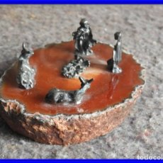Antigüedades: BONITO BELEN DE PLATA SOBRE PIEDRA AGATA. Lote 212989913
