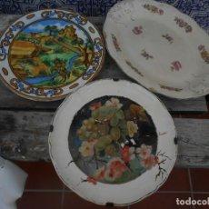Antigüedades: LOTE DE DOS PLATOS Y UNA FUENTE ANTIGUOS. Lote 201833370