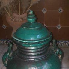 Antigüedades: ANFORA BAÑADA EN VERDE CON ASAS DE LAGARTO. Lote 213040797