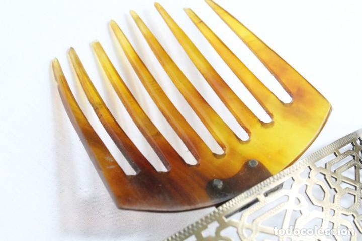 Antigüedades: Preciosa peineta tiara pps del s XIX. Asta y metal con pendentifs de estilo cascabel. - Foto 8 - 213060215