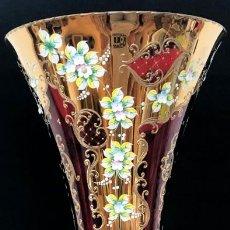 Antiquités: ESPECTACULAR JARRÓN DE CRISTAL DE BOHEMIA PINTADO 61 CM.. Lote 213060707