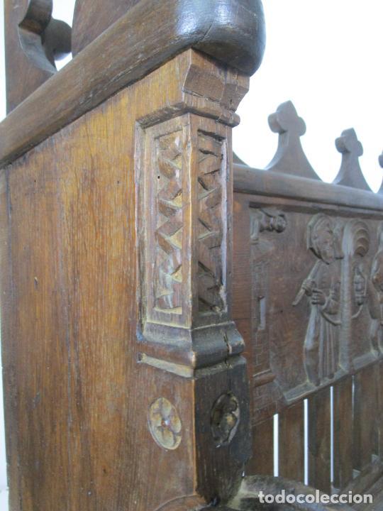 Antigüedades: Banco Estilo Gótico - Escaño - Talla de Madera de Roble - Lateral de Época - Ancho - 124 cm - Foto 15 - 213060747