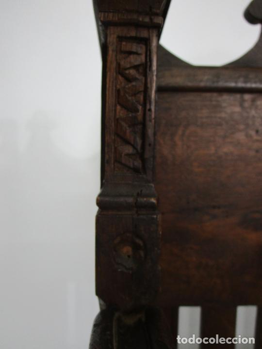 Antigüedades: Banco Estilo Gótico - Escaño - Talla de Madera de Roble - Lateral de Época - Ancho - 124 cm - Foto 16 - 213060747