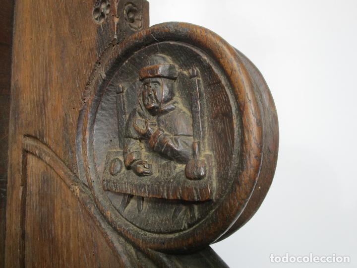 Antigüedades: Banco Estilo Gótico - Escaño - Talla de Madera de Roble - Lateral de Época - Ancho - 124 cm - Foto 20 - 213060747