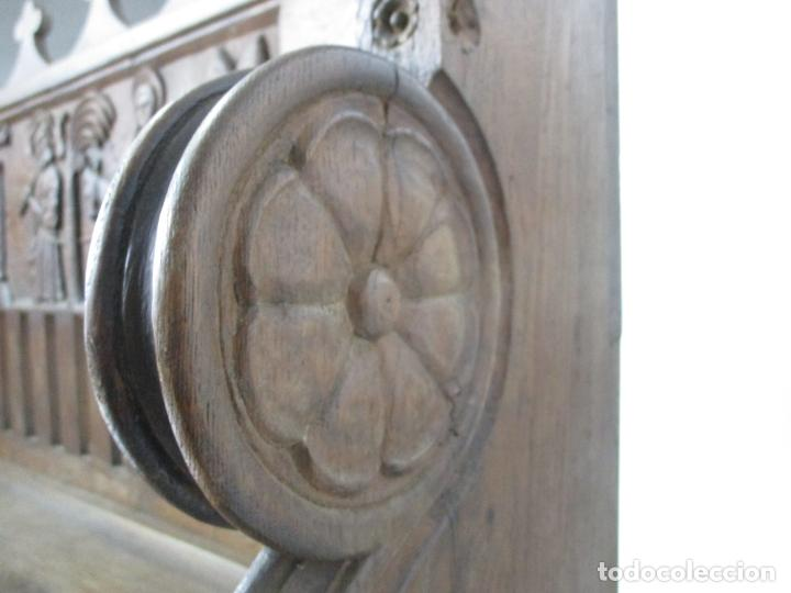 Antigüedades: Banco Estilo Gótico - Escaño - Talla de Madera de Roble - Lateral de Época - Ancho - 124 cm - Foto 22 - 213060747
