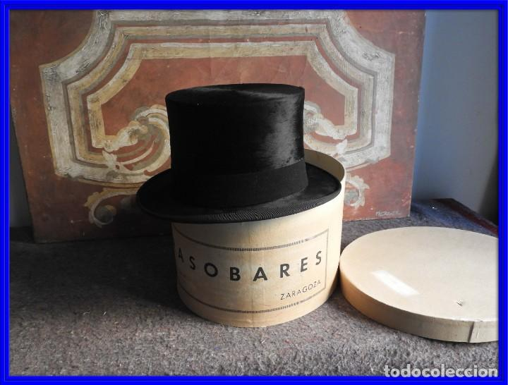 IMPECABLE SOMBRERO DE COPA DE PIEL DE FOCA CON CAJA (Antigüedades - Moda - Sombreros Antiguos)