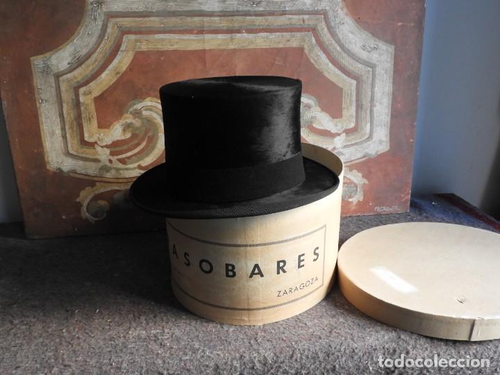 Antigüedades: IMPECABLE SOMBRERO DE COPA DE PIEL DE FOCA CON CAJA - Foto 10 - 213112770