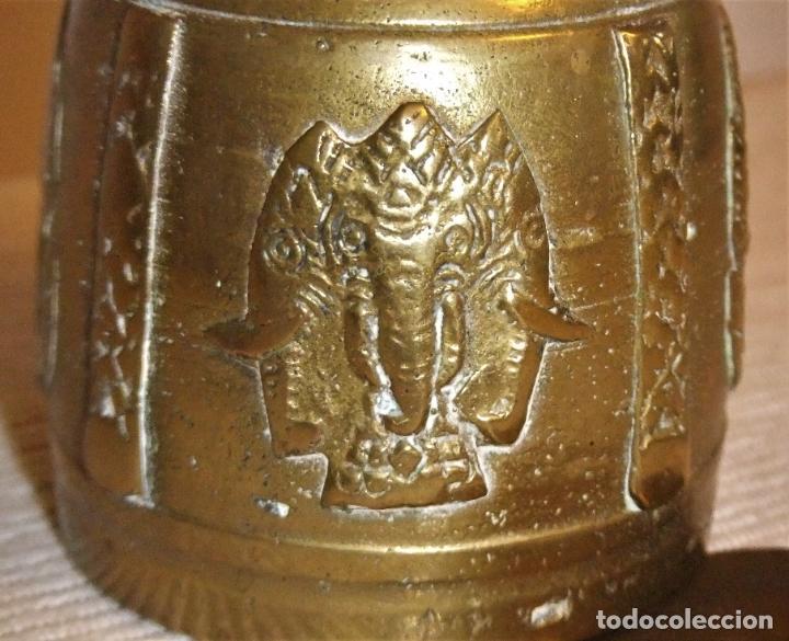 Antigüedades: ANTIGUA CAMPANA DE BRONCE DE LA INDIA/TIBET - Foto 3 - 213133026