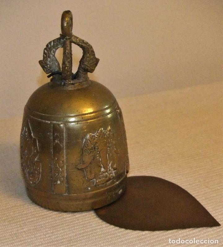 ANTIGUA CAMPANA DE BRONCE DE LA INDIA/TIBET (Antigüedades - Hogar y Decoración - Campanas Antiguas)