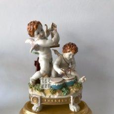 Antiquités: MAGNIFICA PORCELANA DE ALGORA. CONJUNTO DIA QUERUBINES MÚSICOS. PERFECTO ESTADO DE CONSERVACIÓN.. Lote 213231577