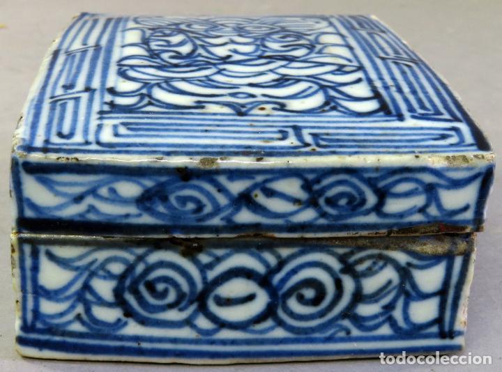 Antigüedades: Caja de cerámica China Blue and white pintada en azul con decoración geométrica siglo XIX - Foto 4 - 213233422