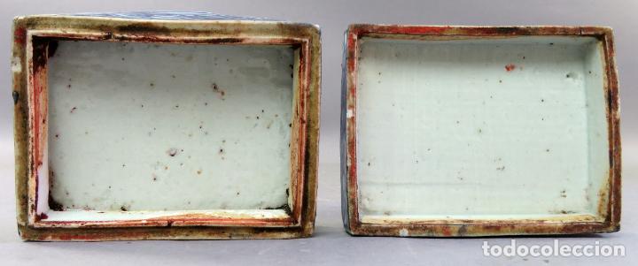 Antigüedades: Caja de cerámica China Blue and white pintada en azul con decoración geométrica siglo XIX - Foto 5 - 213233422