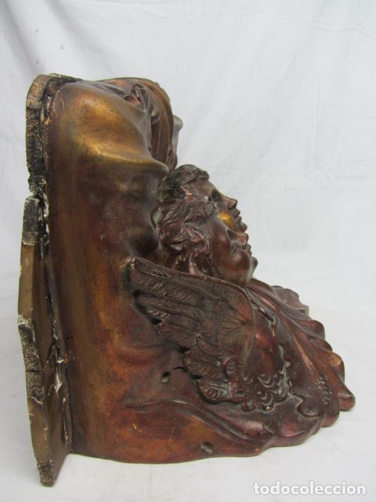 Antigüedades: Mensula o peana modernista en estuco dorado al oro viejo - Foto 4 - 213248607