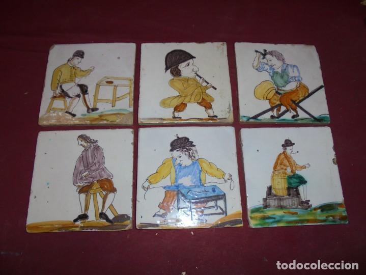 MAGNIFICOS 6 AZULEJOS ANTIGUOS CATALANES OFICIOS (Antigüedades - Porcelanas y Cerámicas - Azulejos)
