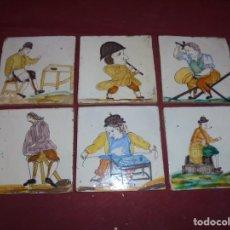 Antigüedades: MAGNIFICOS 6 AZULEJOS ANTIGUOS CATALANES OFICIOS. Lote 213268248