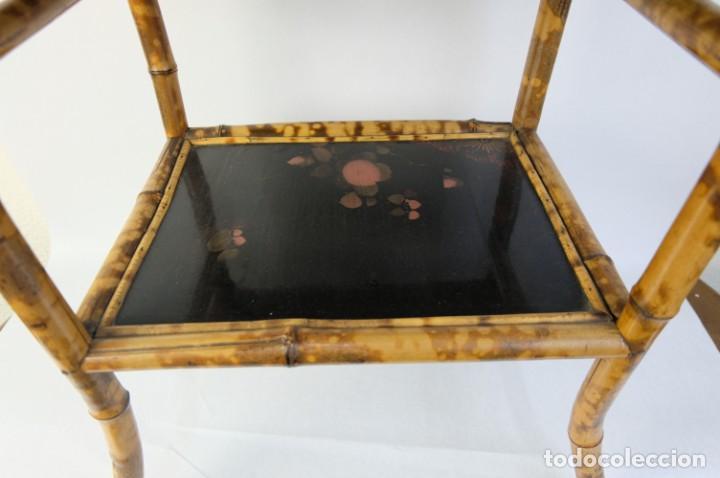 Antigüedades: Mueble revistero japonés en bambú y laca principios siglo XX - Foto 9 - 238250545