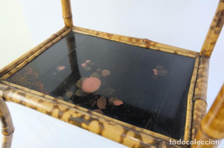 Antigüedades: Mueble revistero japonés en bambú y laca principios siglo XX - Foto 4 - 238250545