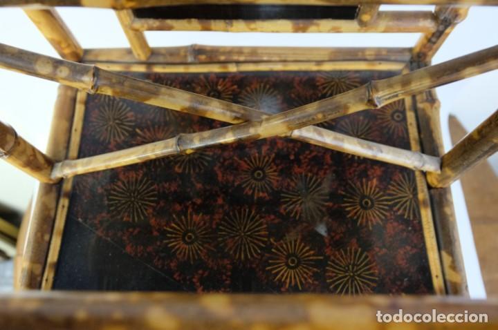 Antigüedades: Mueble revistero japonés en bambú y laca principios siglo XX - Foto 5 - 238250545