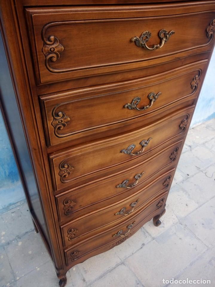 Antigüedades: Antigua comoda camisero de madera de roble.estilo isabelino años 40, 7 cajones - Foto 7 - 213282351