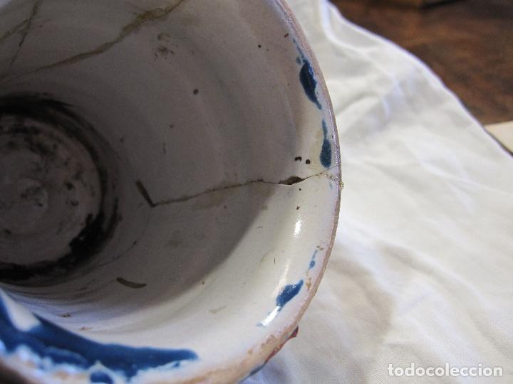 Antigüedades: PEQUEÑO BOTE DE FARMACIA. (PINDOLER) CATALUÑA, SIGLO XVIII. ALT. 11,5 CM. DECORACIÓN MONOCROMA AZUL - Foto 3 - 213331946