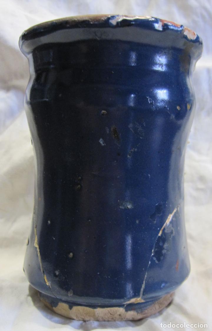Antigüedades: PEQUEÑO BOTE DE FARMACIA. (PINDOLER) CATALUÑA, SIGLO XVIII. ALT. 11,5 CM. DECORACIÓN MONOCROMA AZUL - Foto 16 - 213331946