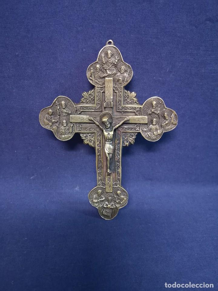 CRUZ ORTODOXA RUSA BRONCE (Antigüedades - Religiosas - Crucifijos Antiguos)