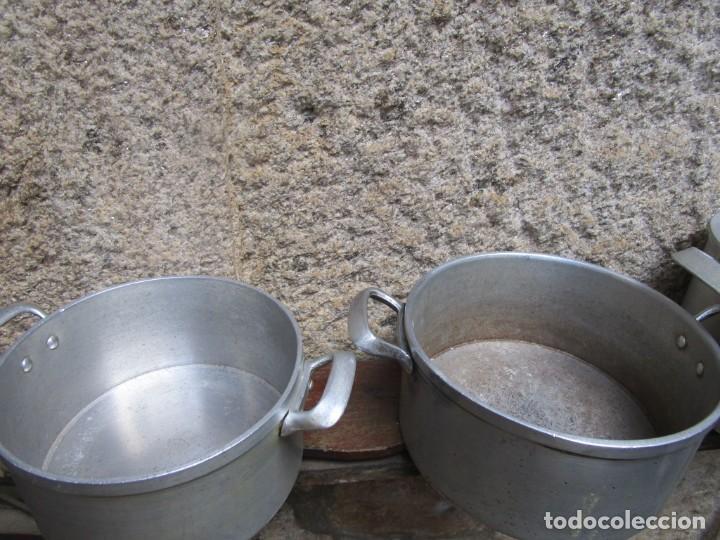Antigüedades: LOTE 4 ANTIGUAS TARTERAS PUCHEROS OLLAS ALUMINIO DE LOS 40S, LIMPIAS, DECORACION Y USO, 3.8KG + NFO - Foto 11 - 213347173