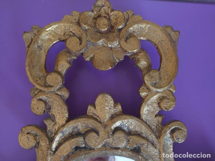 Antigüedades: PAREJA ESPEJOS CORNUCOPIAS MADERA TALLADA57X39 - Foto 2 - 213352246