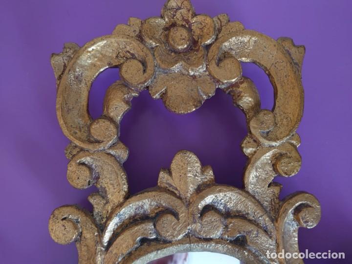 Antigüedades: PAREJA ESPEJOS CORNUCOPIAS MADERA TALLADA57X39 - Foto 3 - 213352246