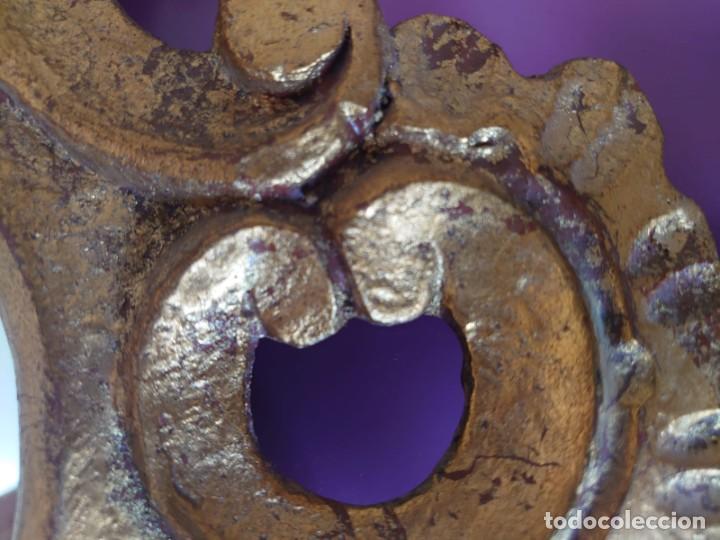 Antigüedades: PAREJA ESPEJOS CORNUCOPIAS MADERA TALLADA57X39 - Foto 9 - 213352246