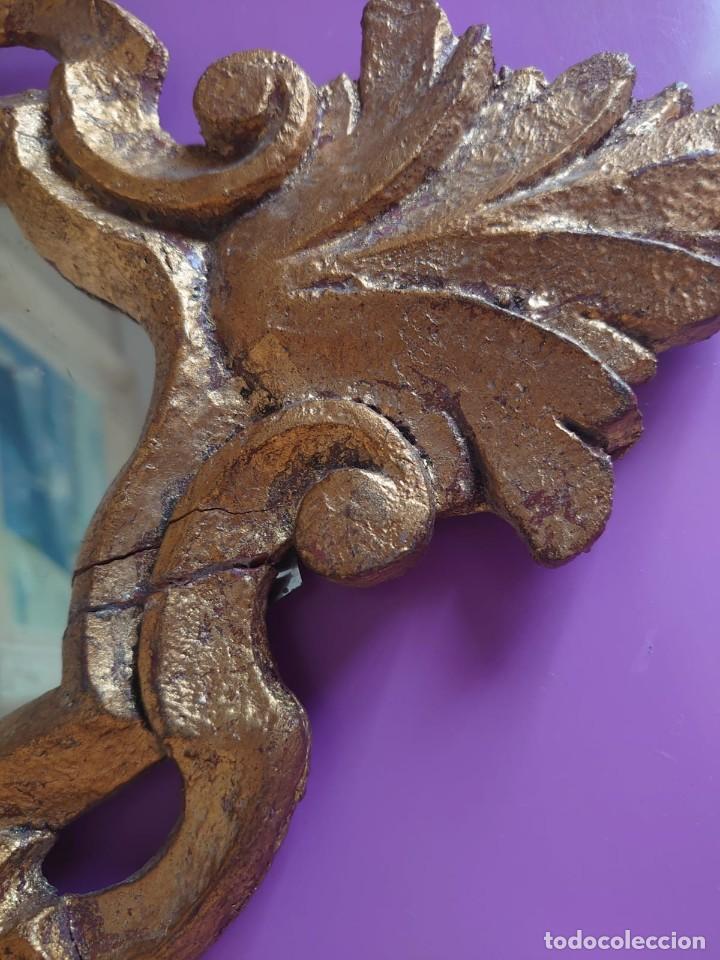Antigüedades: PAREJA ESPEJOS CORNUCOPIAS MADERA TALLADA57X39 - Foto 10 - 213352246