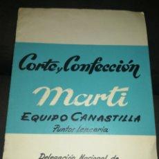 Antigüedades: 1962,CORTE Y CONFECCIÓN, EQUIPO CANASTILLA, DELEGACIÓN NACIONAL DE SECCIÓN FEMENINA, CON PATRONES.. Lote 213367101